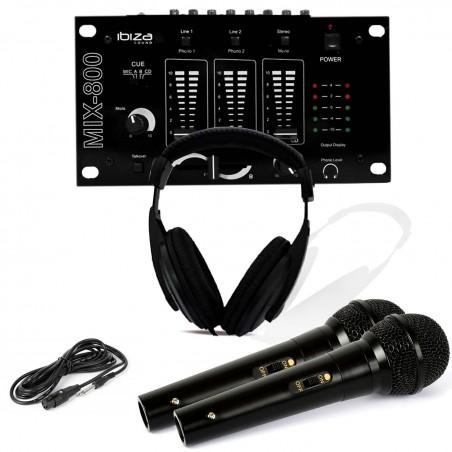 Dj Headphones Sound Mix 800 Ibiza Mixer 2 Microphones Dynamic