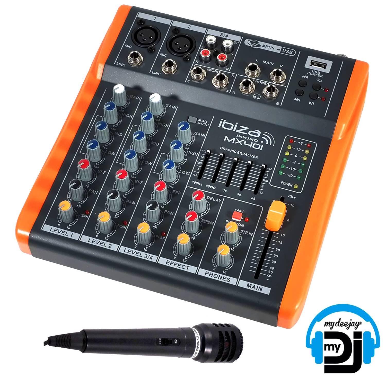Mixer Console 4 Channels Compact Usb Extra Ibiza Sound Mx401